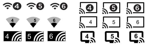 Icone Wifi 4, 5 e 6
