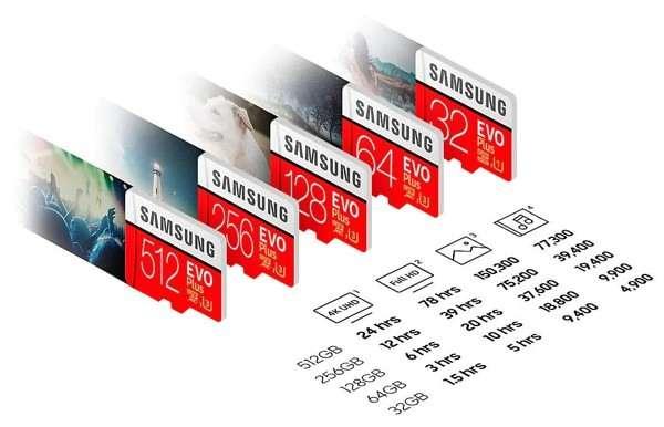 Samsung Evo Plus: la capacità di archiviazione