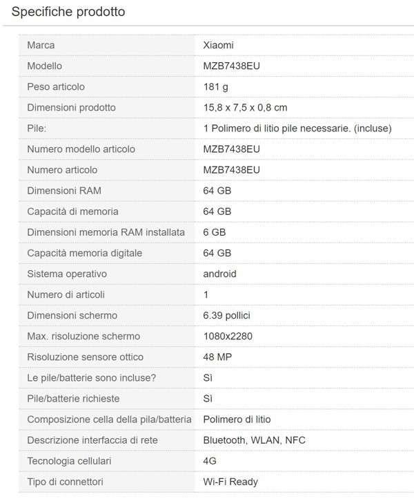 Xiaomi Mi 9, scheda tecnica