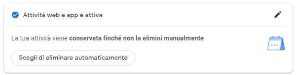 Come cancellare i dati conservati da Google - Opzione automatica