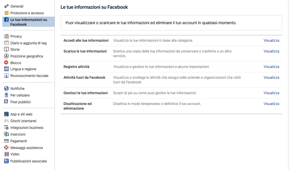 cancellare account facebook