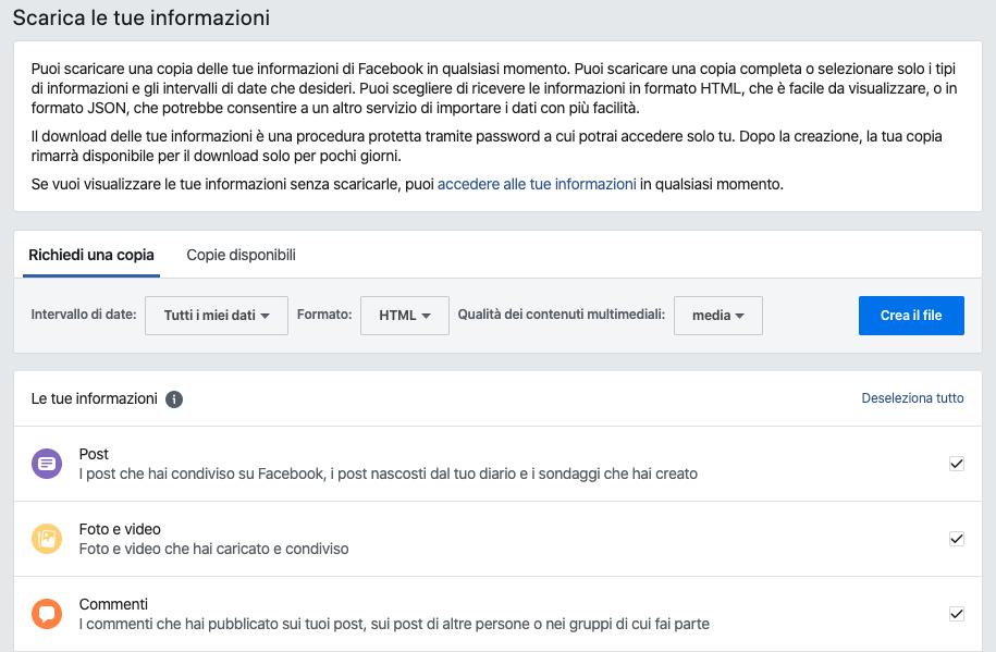download informazioni personali facebook
