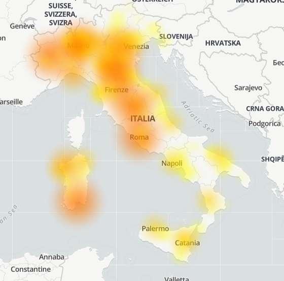 Tiscali, problemi segnalati in tutta Italia (mappa DownDetector)