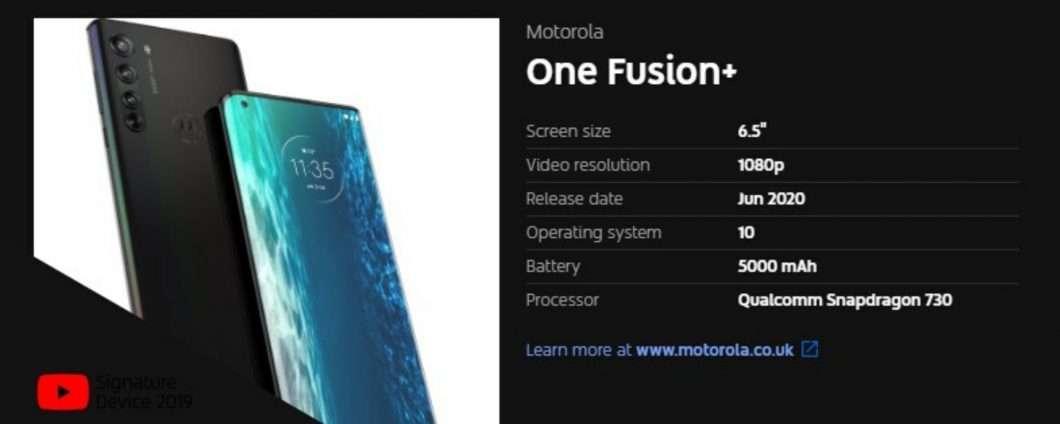 Motorola One Fusion+: specifiche tecniche rivelate