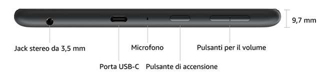 Amazon Fire HD 8: pulsanti, jack e USB-C