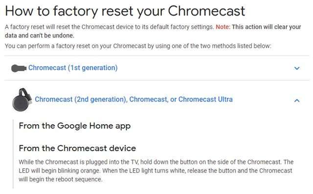 Factory Reset su Chromecast