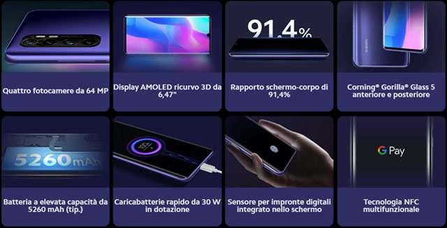 Le caratteristiche di Xiaomi Mi Note 10 Lite