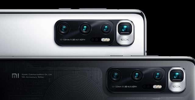 Un dettaglio dello smartphone Xiaomi Mi 10 Ultra