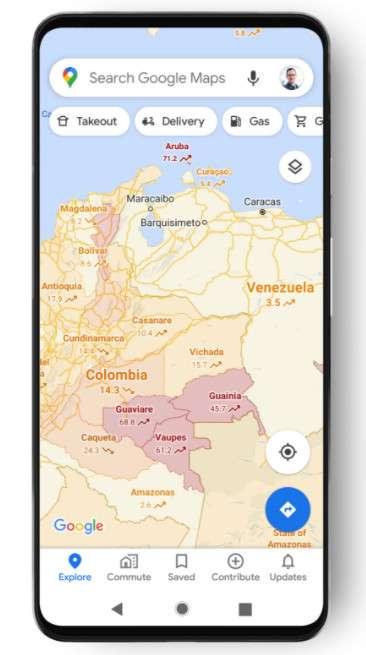 Covid-19 su Google Maps