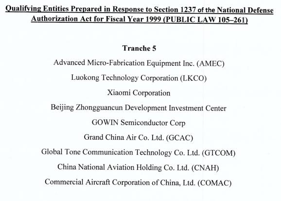 Xiaomi nella lista - Tranche 5