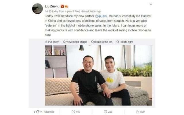 Pete Lau e dirigente Huawei