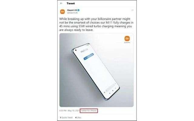 Xiaomi tweet