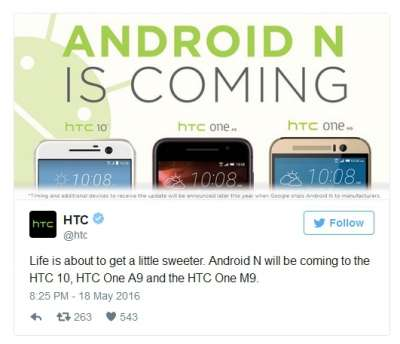 Il tweet di HTC