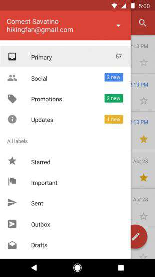 Interfaccia di Gmail Go