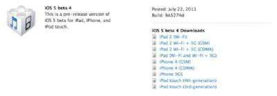 iOS5 beta 4 iPhone