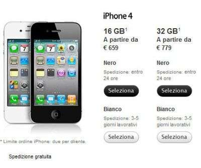 iPhone 4 Bianco sull'Apple Store