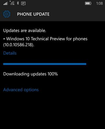 Windows 10 Mobile 10586.218